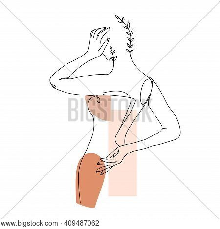Trendy One Line Woman Body With Branch Of Leaves And Abstract Geometric Shapes. Elegant Continuous L