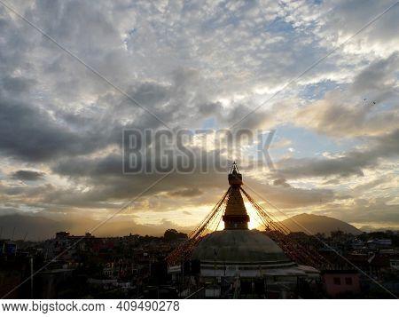 Distant View Of Stupa, Boudhanath, Kathmandu, Nepal