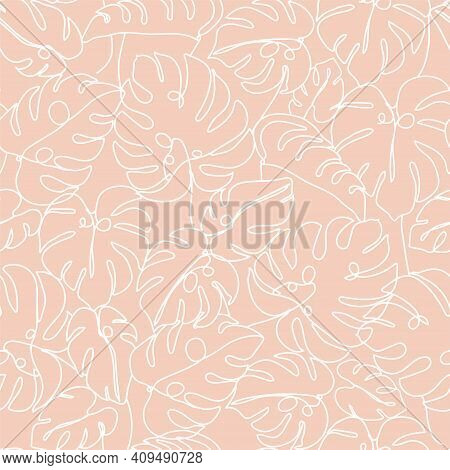 Contemporary Floral Seamless Pattern. One Line Continuous Monstera Leaves. Texture For Textile, Pack