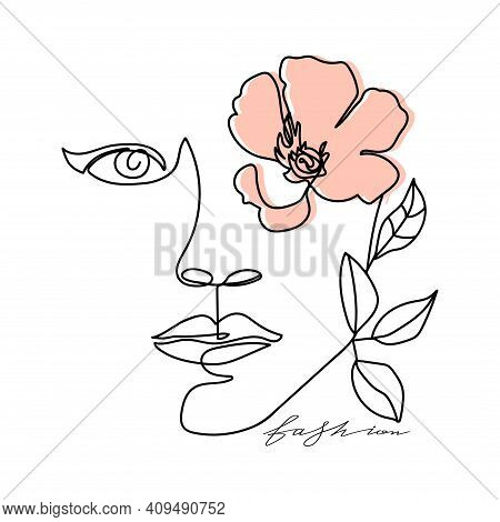 Trendy Abstract One Line Woman Face With Leaves, Flower And Stylish Lettering. Typography Slogan Des