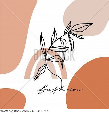 Contemporary Design Collage With Leaf, Geometric Abstract Shapes And Fashion Lettering. Terracotta A