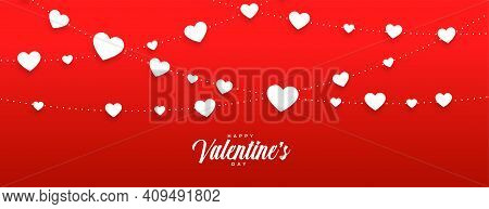 Red Vallentines Day Banner With White Hearts Vector Design Illustration