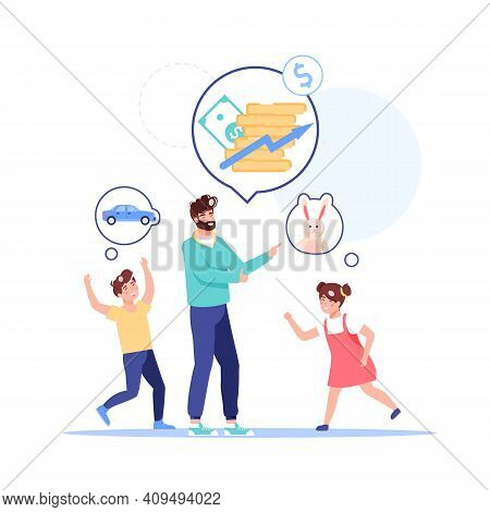 Vector Cartoon Flat Family Characters Dreams Of Future.dad Kids Dreaming, Thinking Of Home Budget Fi