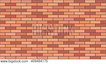 Brick Wall Texture, Seamless Pattern. Background For House Wall Masonry. Red Brick. Vector Illustrat