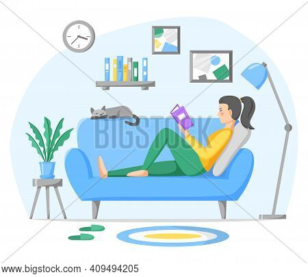 Woman Reading Paper Book On Sofa At Home. Living Room Interior With Couch, Home Plant And Pet. Rest