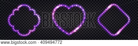 Neon Led Frames With Purple Lglowing Light Effect. Luminous Borders, Illuminated Garlands For Night