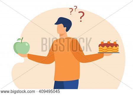 Thoughtful Man Choosing Between Cake And Apple. Fruit, Diet, Choice Flat Vector Illustration. Health