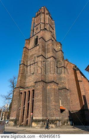 Gliwice, Poland - February 21, 2021: Roman Catholic Church Of All The Saints.