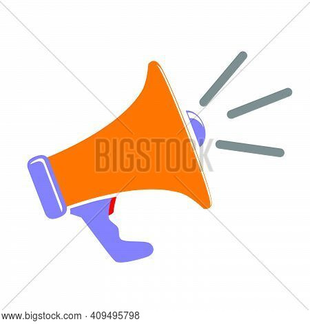 Vector Sign, Orange Blue And Red Bullhorn, Isolated On White .