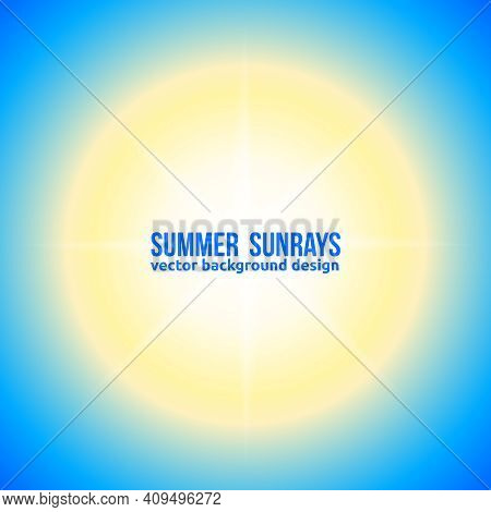 Dazzling Sunny Sky Background. Vector Bright Sunny Banner Sun With Blurs.