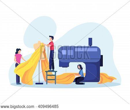 Sewing Clothes Textile Factory, Cloth Manufacturing Worker. Seamstress Working With Thread Machine I