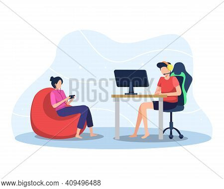Playing Online Games, Boy Playing Online Game On Pc, Girl Playing Mobile Game. Concept Of Profession