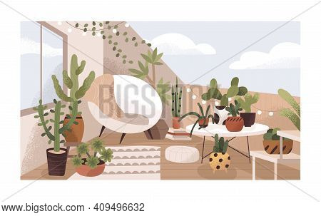 Lounge Terrace Or Balcony Garden With Plants And Furniture. Modern Eco-style Interior Decorated With