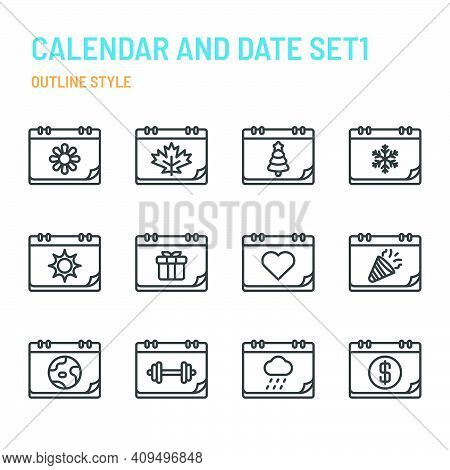 Calendar And Date In Outline Icon And Symbol Set