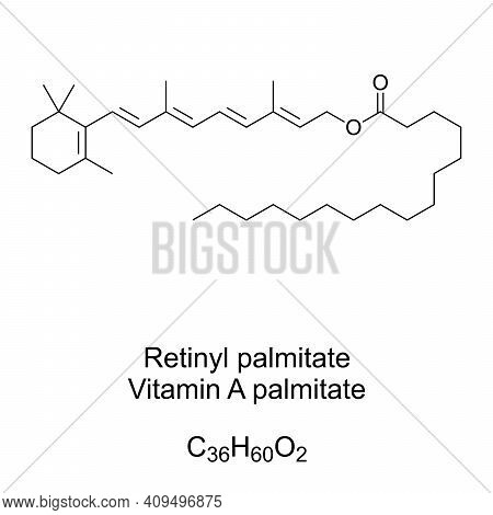Retinyl Palmitate, Or Vitamin A Palmitate, Chemical Formula And Skeletal Structure. Most Abundant Fo
