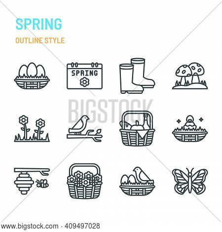 Spring Season In Outline Icon And Symbol Set
