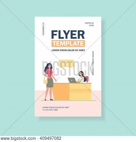 Female Client Or Visitor Talking With Receptionist. Desk, Speech Bubble, Laptop Flat Vector Illustra
