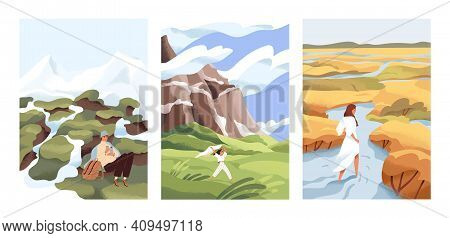 People Walk In Wild Nature Alone. Man And Woman Against The Beautiful Landscapes Vector Flat Illustr