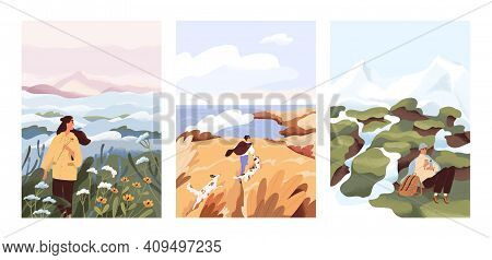 Man And Woman Relax Outdoor At Natural Landscape Vector Flat Illustration. Scenes With People Walkin
