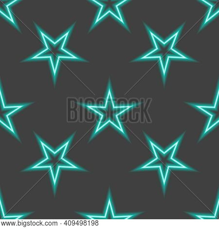 Neon Star Blue Pattern In Cartoon Style On Yellow Background. Holiday Vector Illustration. Modern Ve