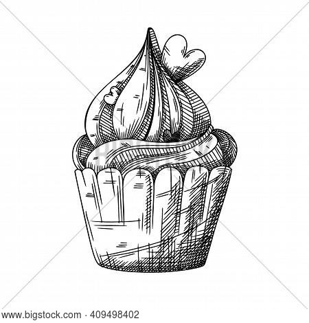 Sketch Of A Cupcake With Cream And Hearts Decoration. Valentine's Day Cupcake. Vector Illustration