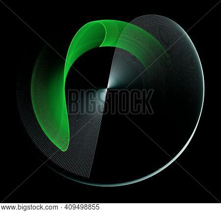 White Transparent Striped Plane Rotates On A Black Background. A Wavy Green Plane Hovers Above It. G