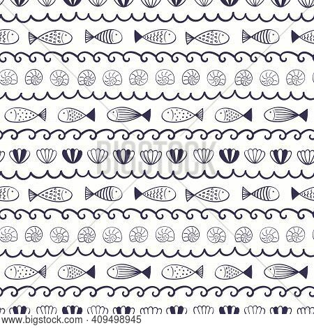 Blue Waves, Fish, Seashells Simple Nautical Seamless Pattern On White Background. Hand Drawn Scandin