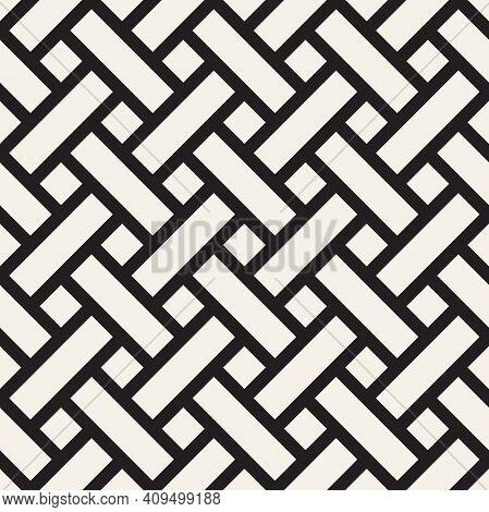 Vector Seamless Pattern. Repeating Geometric Interlocking Lines. Abstract Lattice Background Design.