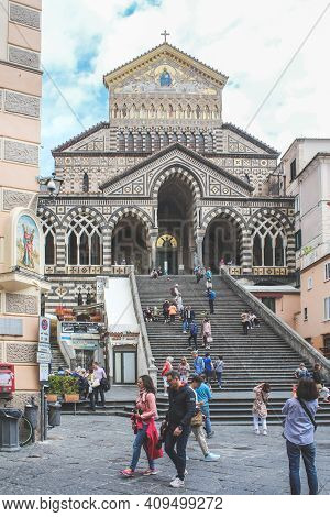 Amalfi, Italy - June 28, 2014: View Of The Roman Catholic Cathedral And The Steps Leading To It From