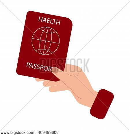 Health Passport Or Immunity Passport During Covid-19 To Travel Without Problem. Flat Style Vector Il