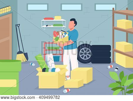 Garage Cleaning Flat Color Vector Illustration. Household Decluttering. Spring Cleaning. Home Chores