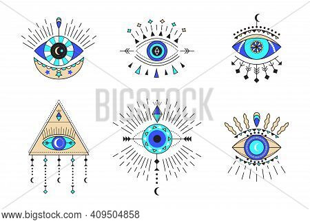 Evil Eye Icon Vector Set. Colorful Eye Of Providence And Esoteric Symbols. Magic Signs For Tarot Car