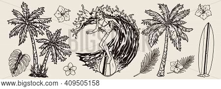 Hawaiian Surfing Elements Set With Tropical Flowers And Leaves Palm Trees Surfboard Attractive Woman