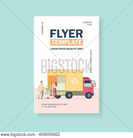 People Loading Garbage Into Truck. Trash Pickup With Recycling Sign Flat Vector Illustration. Garbag