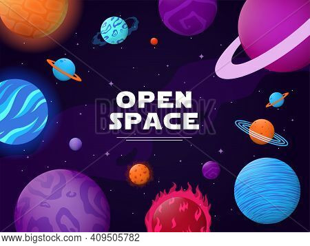 Cover Design With Open Space Theme. Planets, Orbits, Stars, Asteroids, Comets Vector Illustrations W