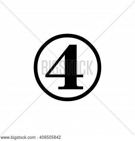 Number 4 Icon Vector. Number 4 Icon Isolated On White Background. Number 4 Icon Simple And Modern.