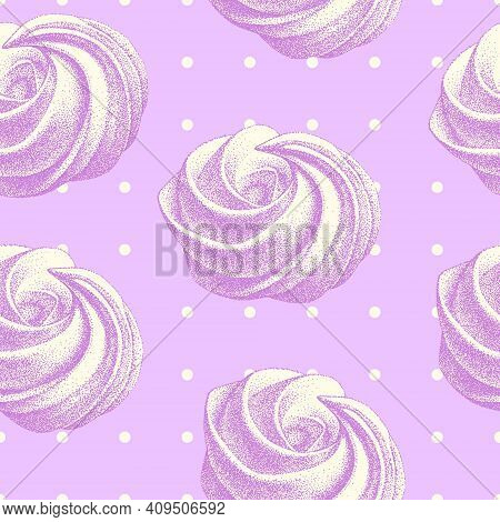 Seamless Pattern With Tender Airy French Meringues, Marshmallow, Zephyr. Vector In Graphic Vintage R