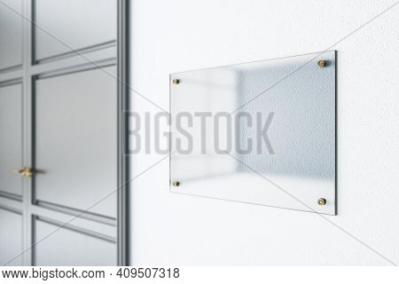 Glass Transparent Signage On Light Wall Before The Entrance A Room With Metal Door. Mock Up. 3d Rend