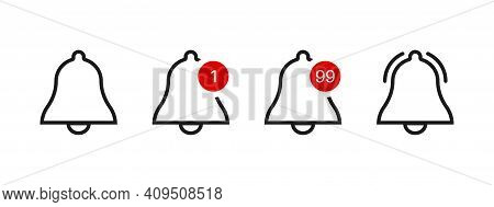 Bell Icon. Alert Notification Button. Alarm Notice Vector Sign. Sipmle Flat Ring Message Or Subscrip