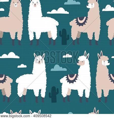 Llama Pattern. Lama Seamless Handdrawn Print. Vector Cartoon Textile Template
