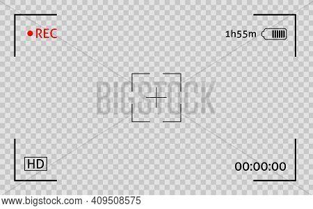 Camera Viewfinder Frame. Display Snapshot Digital Video Record Screen. Filn Rec Camcoder Template.