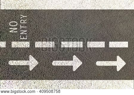 Street Or Road Direction For One Way Or Single Way Movement By Painting Road  On  Text And Arrows In