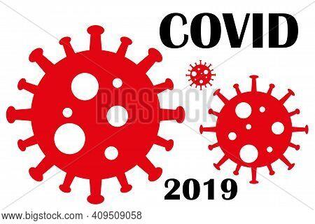 Dangerous Virus Icon Illustration. Crown Virus Warning Sign Logo Concept Isolated On White Backgroun