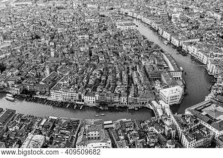 black and white Venice, Rialto Bridge and Grand canal