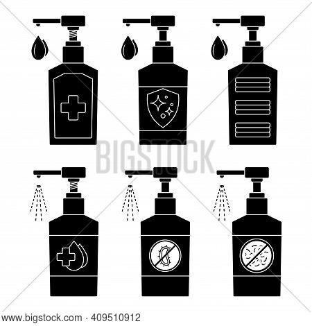Hand Sanitizer. A Set Of Hand Sanitizer Bottles, Washing Gel, Spray. Sanitizer Liquid Soap. Alcohol