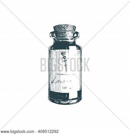 Illustration Of Essential Oil Vial. Perfume Bottle