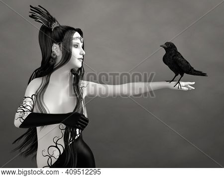 3d Rendering Of A Surreal Bodypainted Woman With Long Black Hair Holding A Black Crow. The Image Is