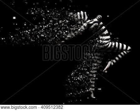 3d Rendering Of A Surreal Striped Woman That Shatters. The Body Is Breaking Apart Into Pixels Or Win