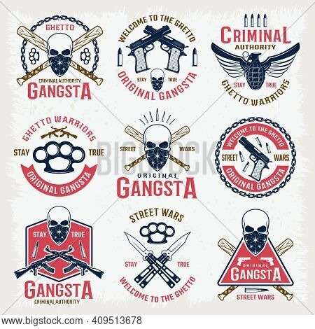 Gangster Colored Emblems With Bandit Mascot Crossed Bats Edged Weapon  And Firearm Isolated Vector I