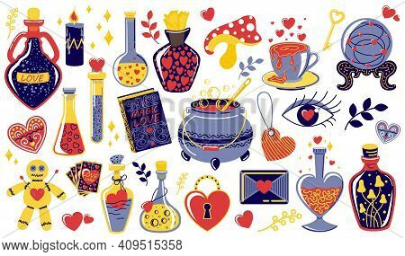 Love Potion. Magical Objects For Fortune Telling Or Clairvoyance. Bottles And Vials With Alchemical